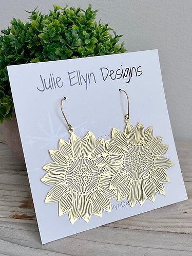 Brass Sunflower Statement Earrings