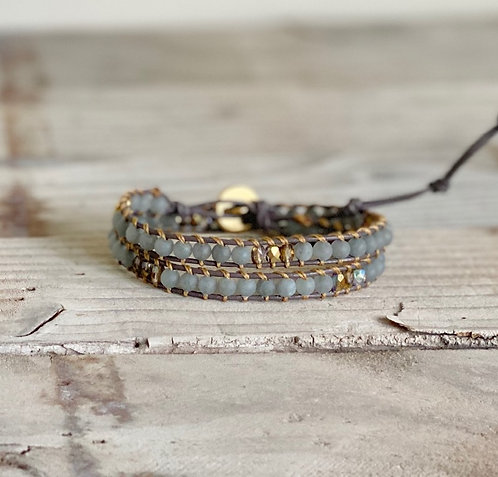 Grey Jade and Gold Czech Beaded Leather Double Wrap Bracelet