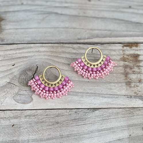 Pink Tutu Hand Beaded Earrings