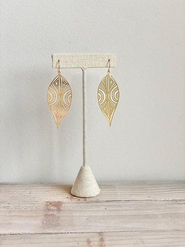 Elongated Lace Brass Earrings