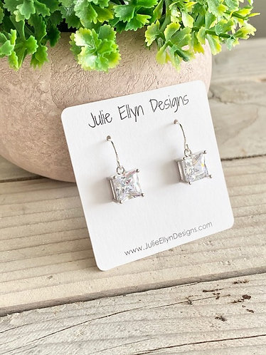 Faceted Crystal Earrings - Square
