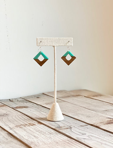 Wood and Turquoise Resin Diamond Earring -Turquoise