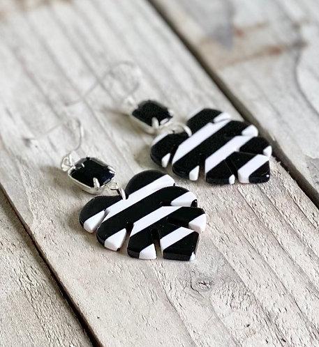 Monstera Leaf Striped Earrings
