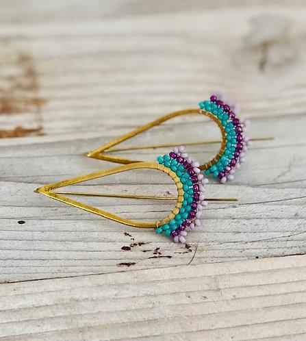 Colorful Hand Beaded Earrings