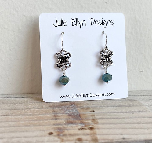Antiqued Filigree Dangles with Frosted Crystals