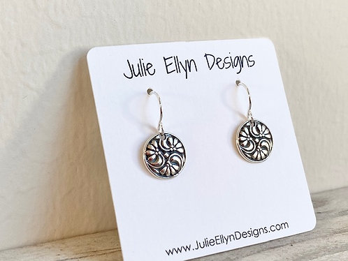 Floral Stamped Petite Round Earrings