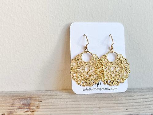 Gold Rustic Coral Earrings