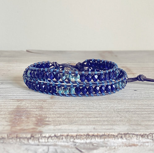 Navy Blue Czech Beaded Leather Double Wrap Bracelet