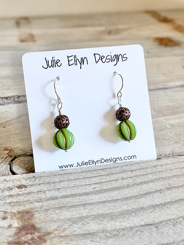 Unique Green and Ornate Brass Drop Earrings
