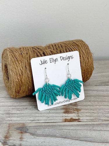 Mini Fringe Hand Beaded Fringe Earrings - Turquoise