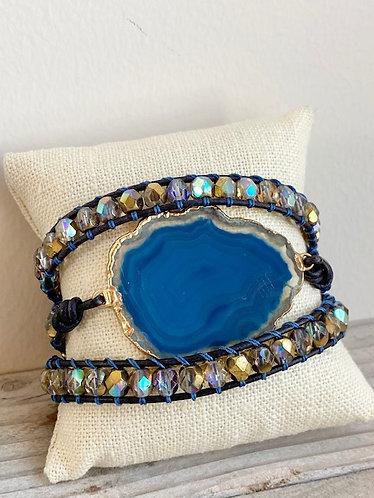 One of a Kind Stalactite Slice Czech Beaded Leather Triple Wrap Bracelet