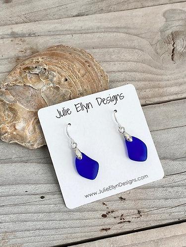 Cobalt Sea Glass Earrings