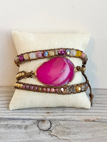 One of a Kind Stalactite Slice Czech Beaded Leather Triple Wrap Bracelet