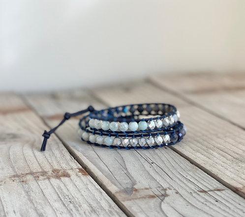 Shades of Blue Summer Style Mix Bead Double Wrap Bracelet