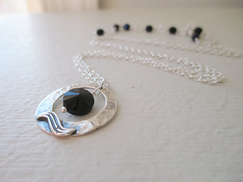 Dark Moon Necklace - Black Spinel and Sterling Silver Necklace