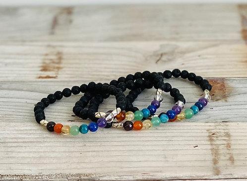 Chakra Gemstone  and Lava Rock Bracelet