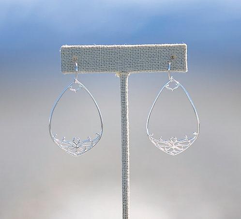Sterling Silver Teardrop Filigree Dangle Earrings