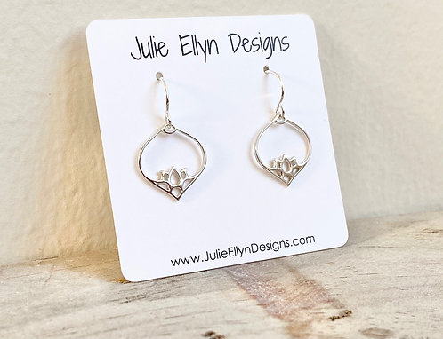 Lotus Teardrop Earrings - Sterling Silver