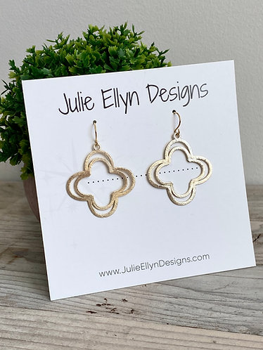 Double Quatrefoil Brushed Gold Earrings