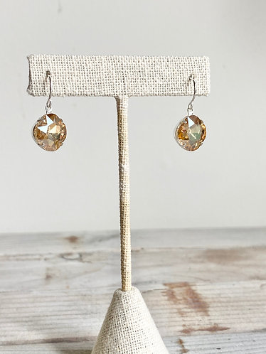 Faceted Crystal Earrings - Octagonal Peach