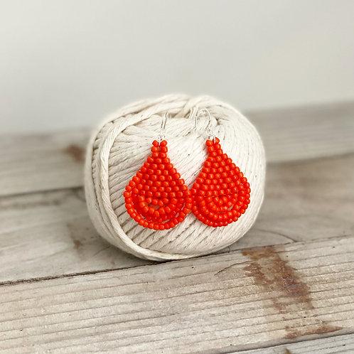 Teardrop Hand Beaded Earrings - Orange