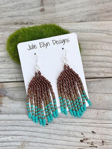 Medium Hand Beaded Fringe Earrings - Copper Ombre