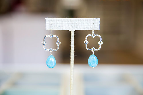 Blue Larimar and Clover Dangle Earrings