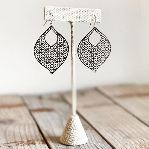 Large Painted Filigree Open Marquise Earrings - Black