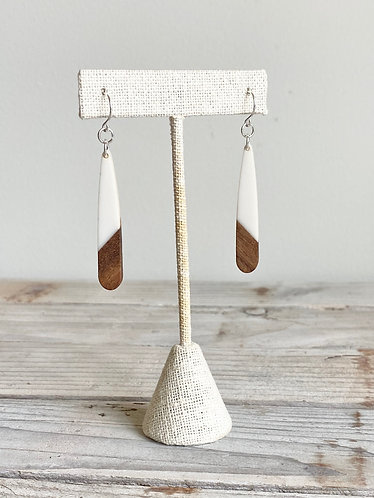 Resin and Wood Petite Elongated Teardrop Earrings - White