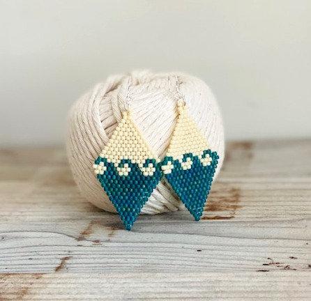 Ocean Waves Hand Beaded Earrings