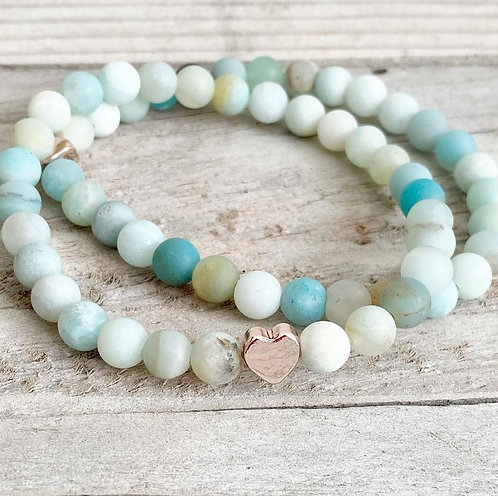 Matte Amazonite Stretch Bracelet with Rose Gold Heart