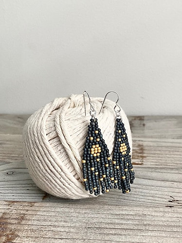 Small Hand Beaded Fringe Earrings - Turquoise Ombre