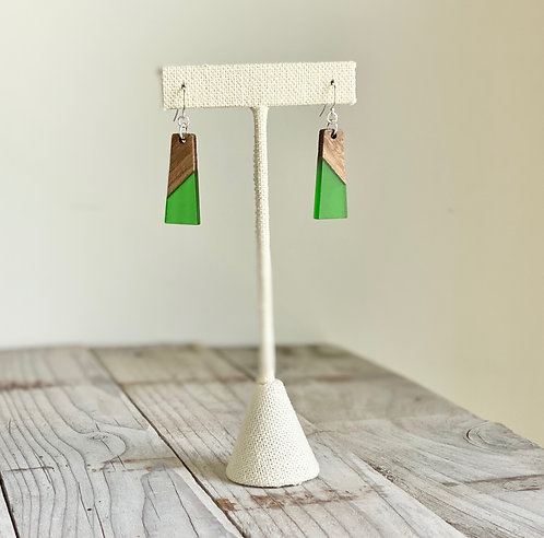 Resin and Wood Petite Rectangle Earrings - Spring Green