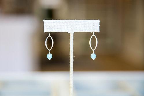 Petite Teardrop Sterling Silver and Amazonite Earrings