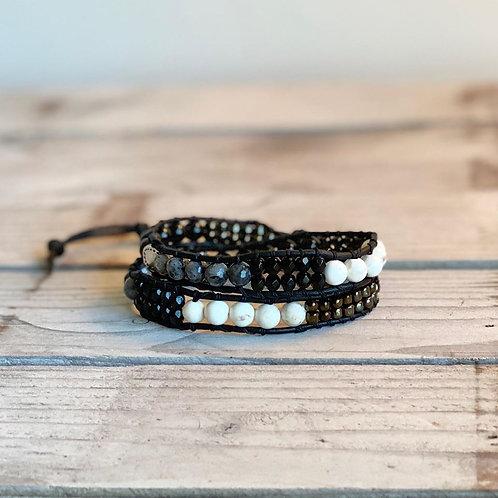 Black and White Mix Bead Double Wrap Bracelet