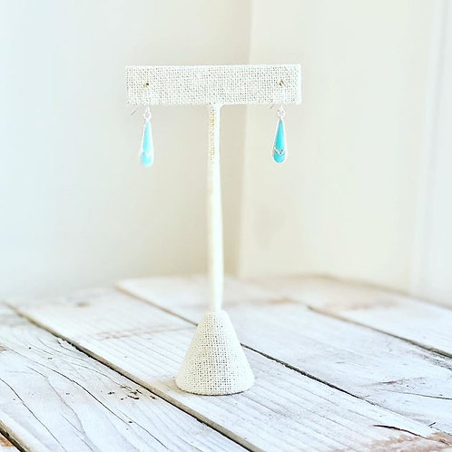 Delicate Inlaid Turquoise Drop Earrings
