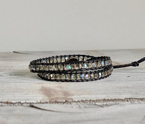 Grey Czech Beaded Leather Double Wrap Bracelet