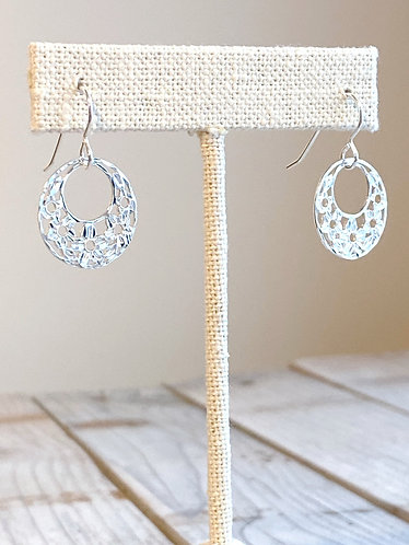 Floral Cut Round Earrings