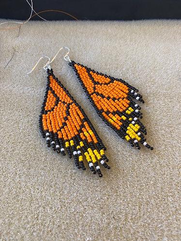 Butterfly Wing Hand Beaded Fringe Earrings