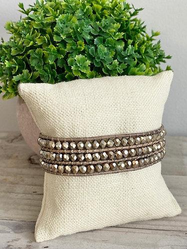 Custom Gemstone and Leather Cuff - Golden Crystal