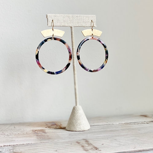 NEW Multi Color Tortoise Shell Hoops with Brass Accent