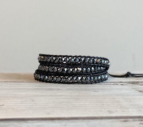 Hematite Czech Beaded Leather Triple Wrap Bracelet