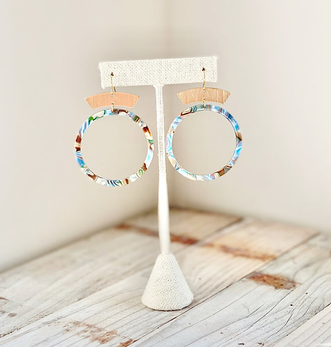 NEW Blue Tortoise Shell Hoops with Brass Accent