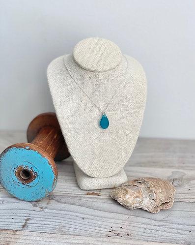 Petite Teal Blue Sea Glass Pendant Necklace