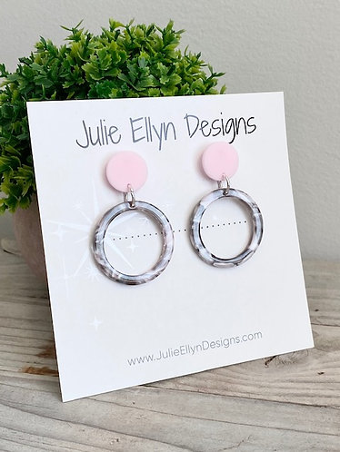 Pink and Grey Stud Earrings