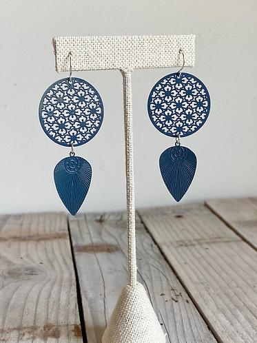 Painted Ornate Earrings - Blue/Grey