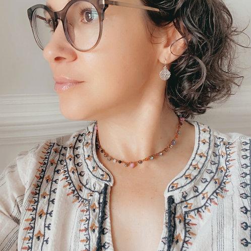 Crocheted Gemstone Mix Necklace
