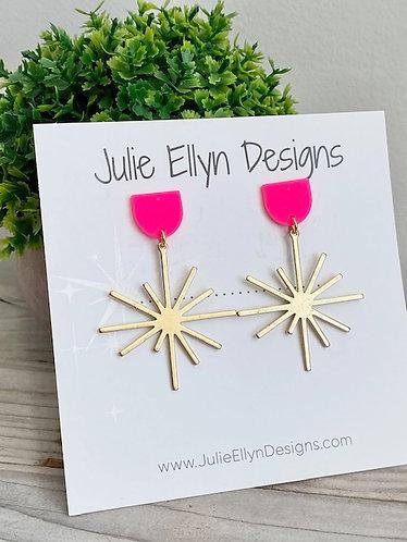 Hot Pink Brass Star Stud Earrings