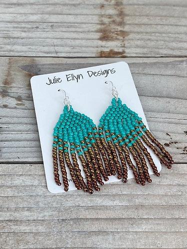 Medium Hand Beaded Fringe Earrings - Turquoise Ombre