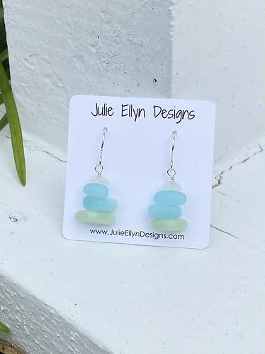 Green to Aqua Ombre Sea Glass Stack Earrings